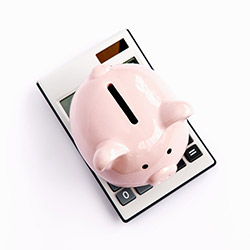 Photo of piggy-bank on top of calculator
